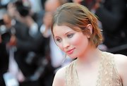 Emily Browning wore a center-parted razor cut at the Cannes Film Festival premiere of 'Sleeping Beauty.'