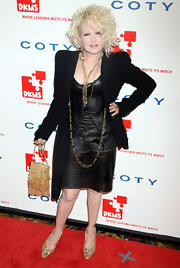 Cyndi Lauper finished her look with glittery slingbacks.