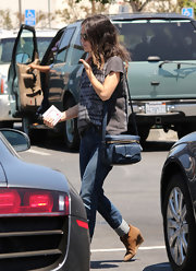 Rachel Bilson was spotted out in LA carrying a stylish blue Derek Lam Newton camera bag.