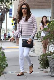 Eva Longoria made a salon stop wearing embellished sandals by Giuseppe Zanotti.