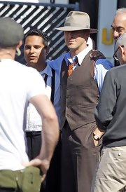 Ryan Gosling channeled some retro charm in a tan fedora as he posed on the set of 'Gangster Squad.'