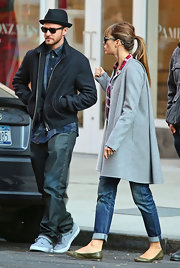 Jessica Biel went out on a date looking casual in green ballet flats, jeans, and a coat.