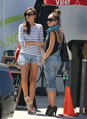 Ashley Madekwe teamed a striped boatneck sweater with jean shorts for a lunch date with  pal Cara Santana.