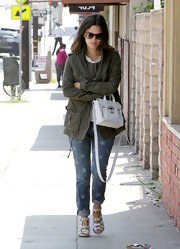 Rachel Bilson went out on a lunch date looking tough-chic in a military-green utility jacket.