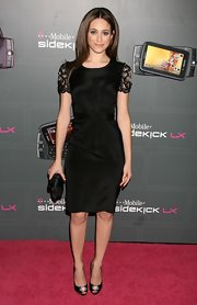 Emmy Rossum was classic and cute in a lace-sleeve LBD during the T-Mobile Sidekick LX launch.
