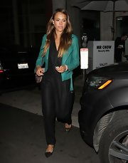 Jessica Alba enjoyed a date night wearing a cool black jumpsuit by J Brand.