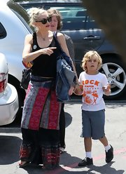Gwen Stefani was hippie-chic in a colorful maxi skirt as she took her sons to a school festival.
