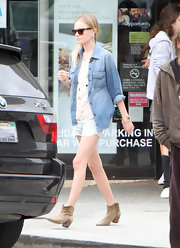 Kate Bosworth kept a low profile in a denim button-down and shorts while out in LA.
