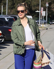 Taylor Schilling accessorized with a pair of tortoiseshell wayfarers while out and about.
