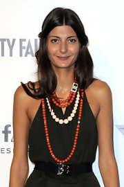 Giovanna Battaglia was all spiffed up with layers of beaded necklaces.