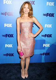 Jayma was shining at the Fox Upfront event in a strapless pink cocktail dress.