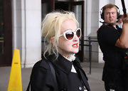 Cyndi Lauper donned white-framed cateye sunnies while out at the Amtrak Union Station in Washington.