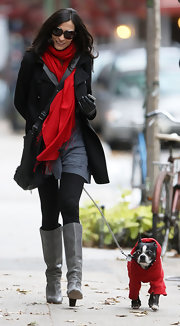Famke Janssen matched her pet's winter gear and wore a red scarf around her neck.