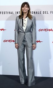 Jessica Biel was androgynous-chic in a silver pantsuit during the Rome International Film Festival 'Easy Virtue' photocall.