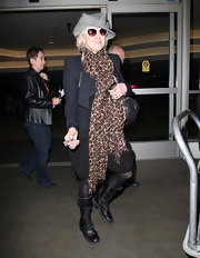 Cyndi Lauper was seen at LAX wearing a pair of leather combat boots.