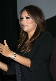 Eva Longoria showed off a glittering rectangle-faced watch while attending the special screening of 'The Harvest/La Cosecha.'