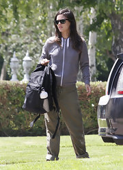 Rachel Bilson completed her comfy outfit with a pair of drawstring khakis.