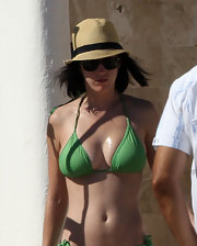 Katy Perry enjoyed a day at the beach wearing a cute straw hat.