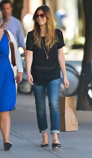 Jessica Biel kept it simple in a sheer black T-shirt while out shopping.