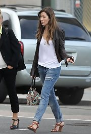 Jessica Biel worked an edgy vibe on the streets of Boston with this black leather jacket and ripped jeans combo.