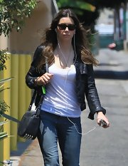 Jessica Biel amped up the edge factor with this Alexander Wang studded shoulder bag and black leather jacket combo while out in LA.