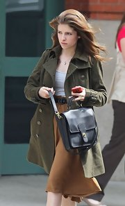 Anna Kendrick was seen outside the Greenwich Hotel carrying a stylish black satchel.