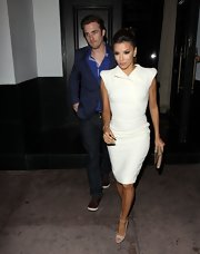 Eva Longoria rocked a strong-shouldered LWD by Antonio Berardi during a dinner date.