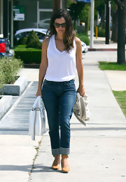Rachel Bilson styled her look with cute orange ankle-strap pumps.