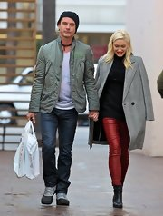 Gwen Stefani rocked a pair of red leather skinnies while shopping in Studio City.