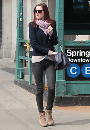 Eva Amurri Martino was snapped strolling around New York in a stylish pair of charcoal gray skinny jeans.