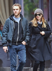 Rooney Mara stayed warm with a brown knit beanie for a day out in New York.
