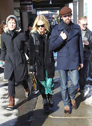Kate Bosworth bundled up in edgy style with a black Mulberry sheepskin coat during the Sundance Film Festival.