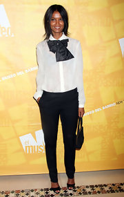 Liya Kebede went for a masculine vibe in black skinny pants, a white button-down, and a huge bow tie at the El Museo Gala.