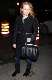 Jessica Chastain glammed up her jeans and sweater with a Moncler sequin-embellished coat for a night out in New York City.