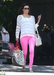 Eva Longoria brightened up the streets of Hollywood with her Barbie-pink jeans.