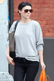 Rooney Mara topped off her look with a pair of brown aviators.
