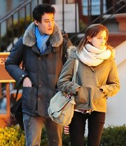 Emma Watson donned an Army by Yves Salomon fur-collar pullover jacket for a day out with her boyfriend.