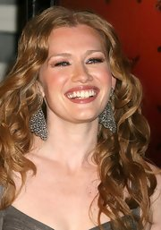 Mireille Enos styled her look with crystal studded earrings.
