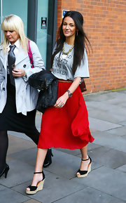 For her footwear, Michelle Keegan chose a pair of comfy and chic wedges.