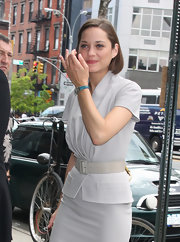 Marion Cotillard was spotted out in New York City wearing an elegant blue rectangle-faced watch.