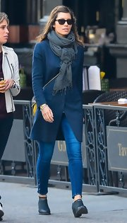 Jessica Biel accessorized with a gray scarf for added warmth and style to her navy coat while out in NYC.