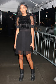 Liya Kebede looked sweet at the 'Twilight Saga: New Moon' screening in a little black dress with a sparkly bodice and sheer puff sleeves.