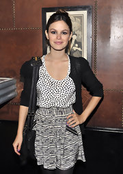 Rachel Bilson sported purple nail polish for a spot of color to her neutral outfit at the Denim Party.