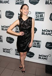 Emmy Rossum donned a shiny little black dress for the 24 Hour Plays.