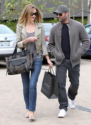 Rosie Huntington-Whiteley added an extra dose of edge with a buckled leather tote.