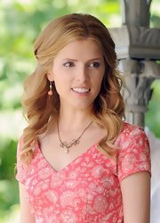 Anna Kendrick matched dangling flower earrings with a pink print dress for a totally sweet look.