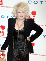 Cyndi Lauper wore a layered chain necklace at the DKMS gala.