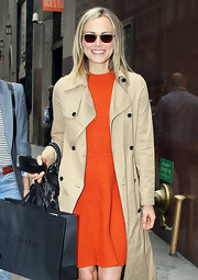 Taylor Schilling was spotted out in New York City wearing a pair of rectangular shades.