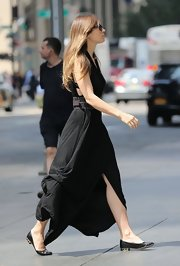 Jessica Biel was sexy-boho on the streets of NYC in a black maxi dress by AllSaints.