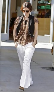 Rachel Bilson stepped out in LA rocking some seriously flared pants.